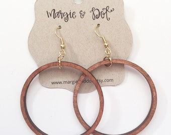 Joanna Gaines Inspired Earrings - Wood Hoops - Hoop Earrings