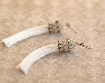Long Beige Silk Tassel Luxury Earrings Beaded Beads Earrings Bridesmaid Jewelry