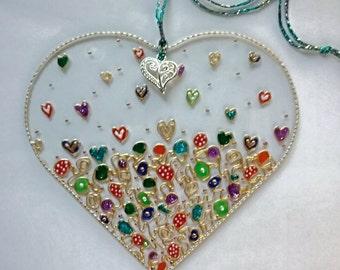 Hanging Glass Heart,  Sun Catcher, Window Ornament, Bauble, Decoration, Romantic Gift, Heart Charm, Valentine's Gift, Friendship Gift, Token