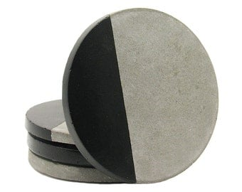 Concrete Coasters, Modern Coasters, Drink Coasters, Cement Coasters, Geometric Coasters, Stone Coasters, Gift for Her, Black - Set of 4