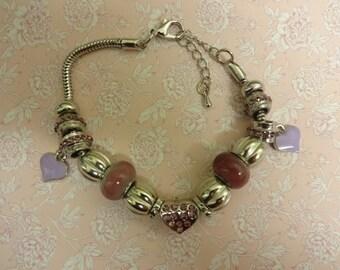 Pink Charm Bracelet, Purple Charm Bracelet, Charm Bracelet