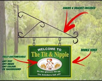Personalised Hanging Pub sign, Home Pub, homebrew, Man Cave - Free Postage Nipple