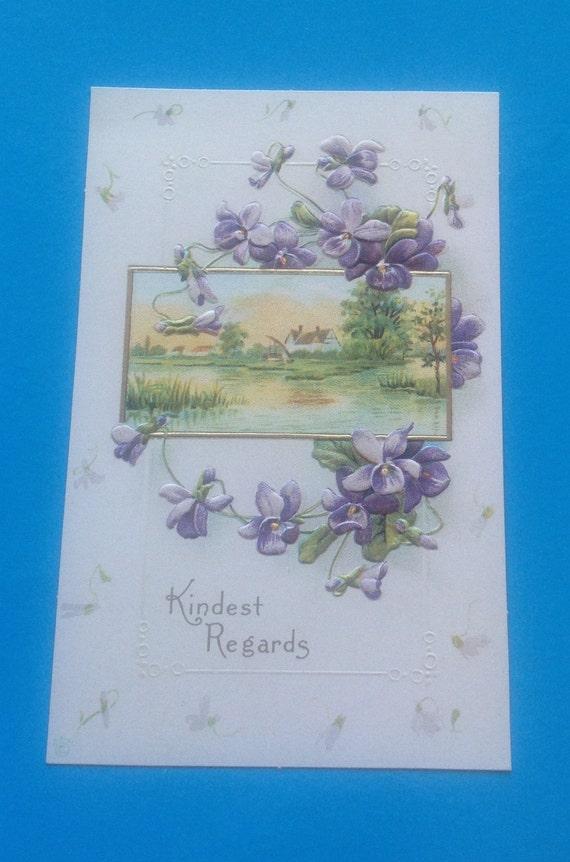Hallmark Historical Collection Postcard Violets Kindest