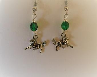Horse Pierced Earrings Silver Tone
