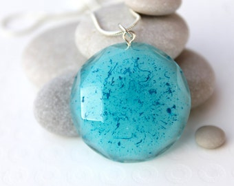 Blue Swirl Necklace - Painted Resin Necklace - Blue Circle Necklace - Blue Resin Necklace - Resin Jewellery