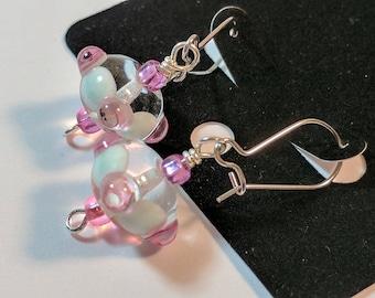 Pinky Pale Lamp Work Glass Bead Earrings
