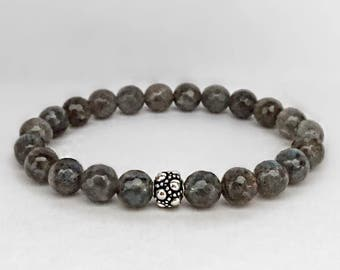Women's larvikite bracelet with a bali sterling silver bead