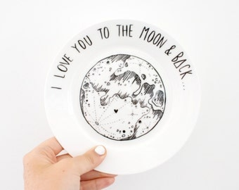 Ceramic Plate 'I Love You to the Moon and Back'