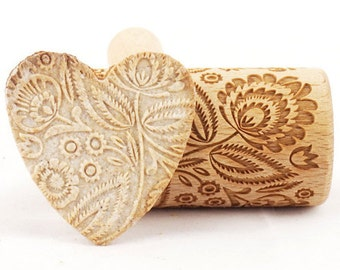 Folk floral - Mini rolling pin for cookies, embossing roller