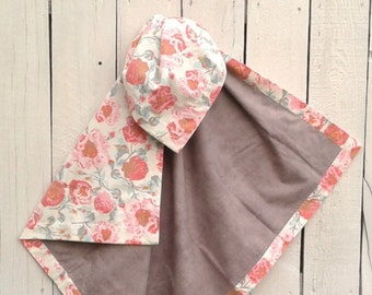 """Romantic Personalized Baby Girl Blanket Perfect for Receiving, Baby Shower Gift, Bedding, Tummy Time, Car Seat and Stroller 38"""" X 38"""""""