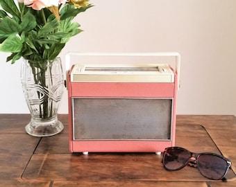 Pink Ferranti Radio, Vintage 1940s 1950s Radio, Small Portable LW MW Retro Home Decor Audio Display Only Mid Century Modern MCM