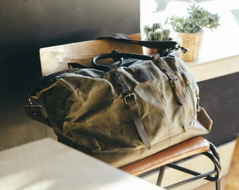 Waxed Canvas Holdall /  Bag with Brown Leather /  Waxed Overnight Bag / Weekend  Bag / Vintage Backpack / Backpack