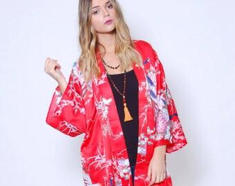 Vintage 80s JAPANESE Kimono Red ASIAN Robe Draped Duster Ethnic Boho Jacket PEACOCK Print Kimono