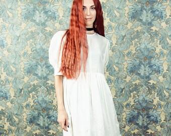 Blanc robe de dentelle, robe broderie anglaise, robe brodée, robe manches ballon, robe romantique, robe victorienne, édouardienne, boho robe,