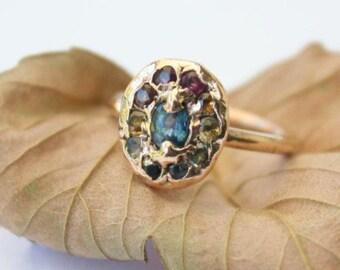 14 k Rosa Gold Regenbogen Saphir Ring