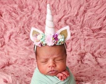 Newborn and up Unicorn headband, Unicorn Horn Headband, baby headband, unicorn baby headband, spring headband, easter headband
