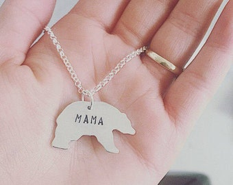 Mama bear necklace Custom Necklace Hand Stamped Jewelry Mama Jewelry - Personalized jewelry - Special Gift - Bear lover - Mothers Day Gift