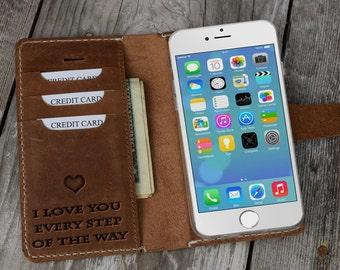 iPhone Wallet Case, Custom iPhone Case, Monogram phone case, Engraved iPhone Case, iPhone Leather Wallet, Leather Wallet Case, Real Leather