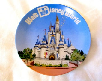 Vintage Walt Disney World Plate Featuring Cinderella's Castle, Made in Japan