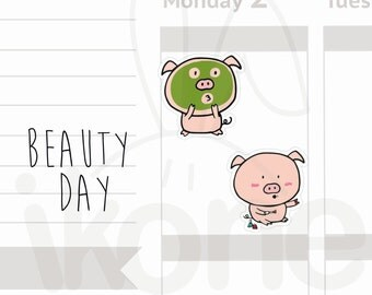 Pumpkin the pig - 24 Beauty day Planner Stickers, face mask, nails, spa day, Cute pig Planner Stickers - A034