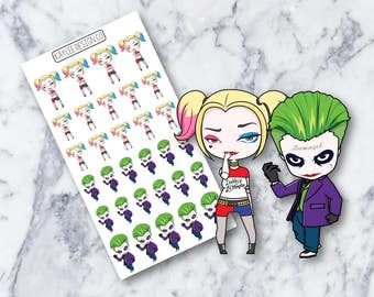 Harley Quinn & The Joker / Planner Stickers / Hand Drawn / Doodle / Tracking /  Fits Erin Condren and MAMBI / Filofax / Kikki K / Scrapbook