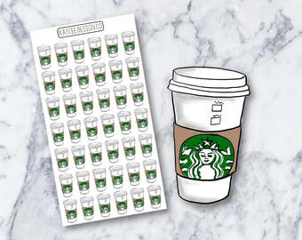 Coffee Cups / Starbucks Inspired / Planner Stickers / Hand Drawn / Doodle / Fits Erin Condren & MAMBI / Filofax / Kikki K / Scrapbook