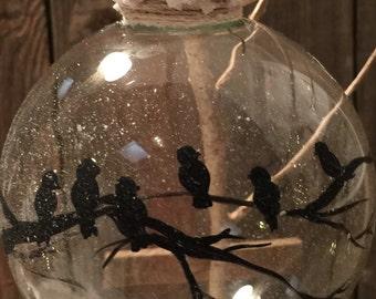 Black Bird Silouette Ornament, Cold Winter Day Ornament ! Bird Ornament, Hand painted Black bird Ornament