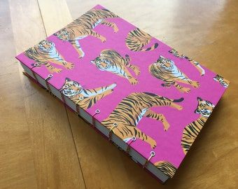 Bright Tiger Sketchbook // Bold Animal Journal // Coptic Stitch Notebook // Hardcover Coptic Stitch // Handmade // Fun and Unique Gift
