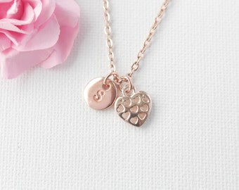 rose gold Heart Necklace, rose gold heart, rose gold  Heart Pendant, Love Jewelry, Wedding Jewelry, Anniversary Gift, valentines gift