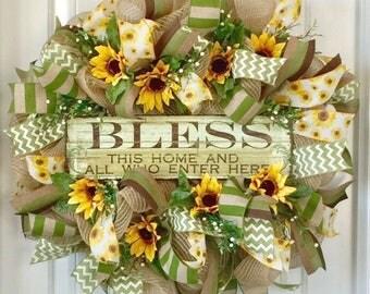 Gift For Mom, Summer Wreath For Door, Sunflower Wreath, Spring Door Wreath, Country Door Wreath, Burlap Front Door Wreath, Fall Wreath