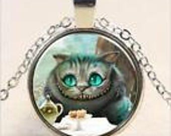Silver Alice Cheshire Cat Cabochon Necklace