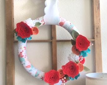 Spring Wreath|Felt Flower Wreath|Easter Wreath|Fabric Wreath|Spring Decor|Spring Felt Wreath