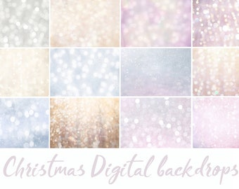 12 Christmas Digital Backdrop, photoshop overlay, bokeh overlay, backdrops, christmas overlay, holiday backdrops