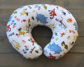 Nursing Pillow Cover Dr. Seuss for Boppy Pillow, Breastfeeding Pillow Slipcover, Minky Cat in the Hat