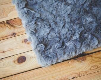 Gray Faux Fur, Newborn Photo Prop, Basket Filler, Basket Stuffer, Newborn Blanket Prop, Newborn Props