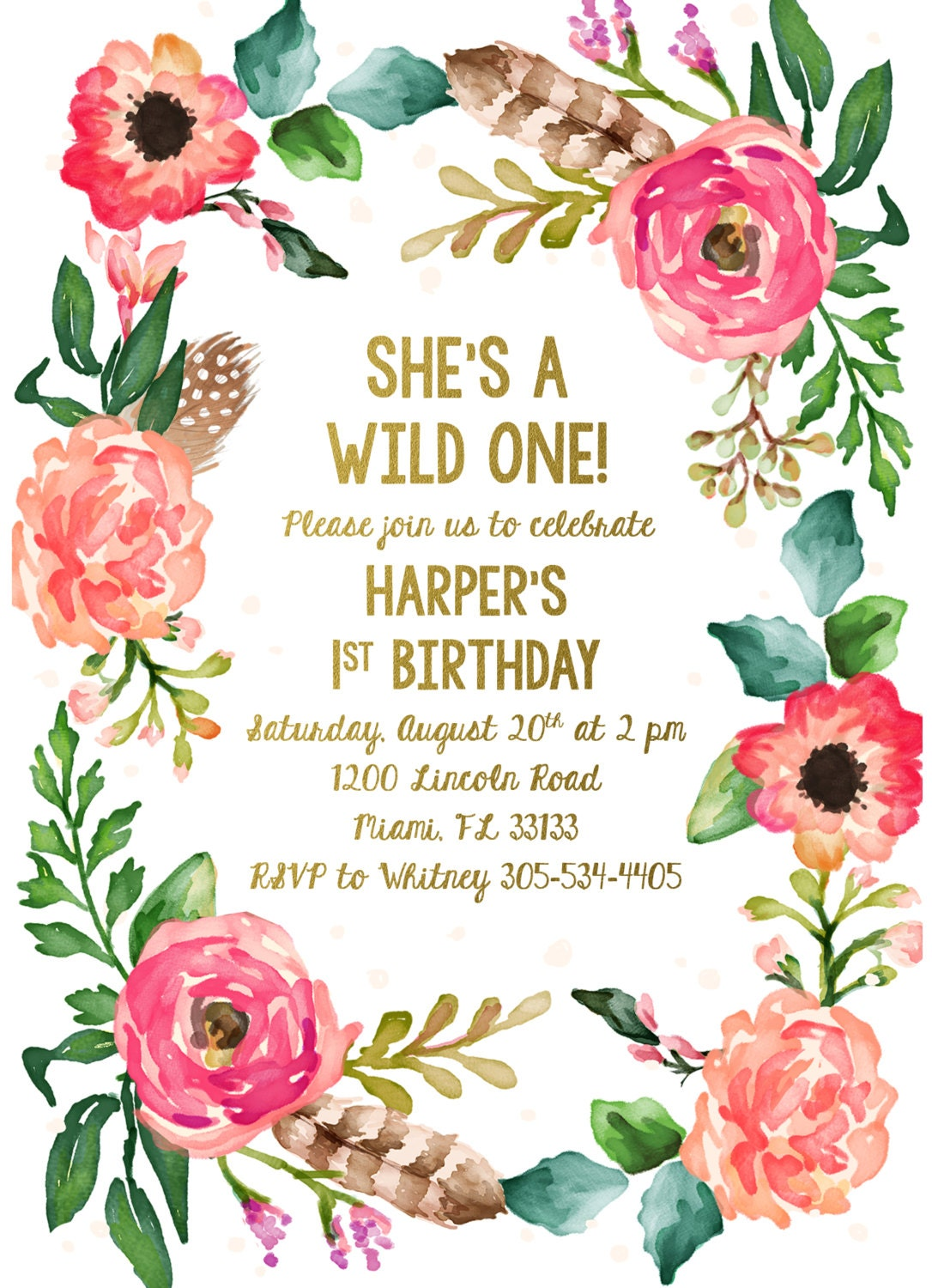 wild one birthday invitation girl first 1st birthday invitation boho feather invitation. Black Bedroom Furniture Sets. Home Design Ideas