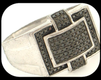 New MENS 0.50CT Black Diamond 925 Sterling Silver Cluster RING Size 11