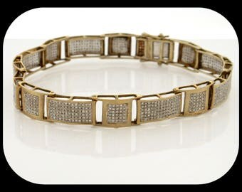 """New 852 Round Cluster Diamond  4.30 CTTW 14K Yellow Gold / 925 Sterling Silver BRACELET 8"""""""