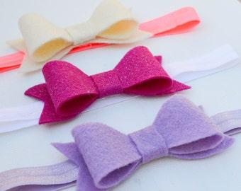 Felt Bow Headbands, Headband, Felt Headband, Bow, Hair clip, felt bow, bow clip, headband, pink, purple, cream, pink headband