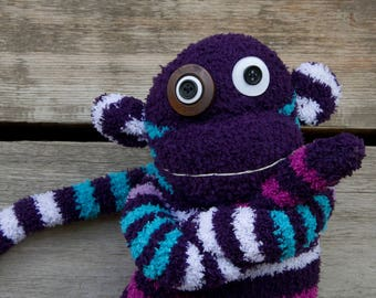 Handmade plush monkey, sock monkey with button eyes (purple, striped)
