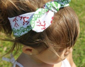 Red Reindeer Top Knot- headband, Christmas accessories, christmas top knot, baby headband, toddler headband, girl headband, adult headband
