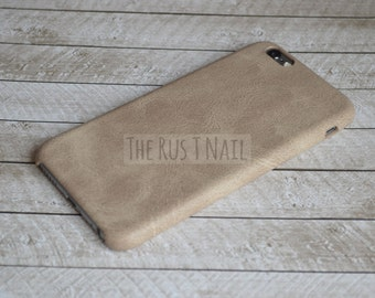 FREE SHIPPING - Personalized Beige iPhone 6 Ultra Slim Leather Case