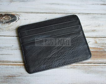 Genuine Leather Slim Credit Card Wallet - Black