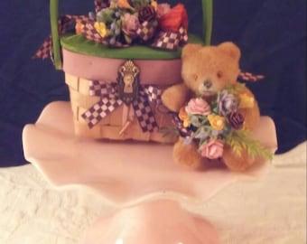 Vintage bear in a basket