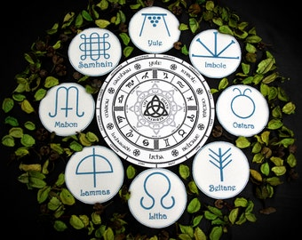 Embroidered decorative altar pads - paganism pagan symbolism wicca wizardry