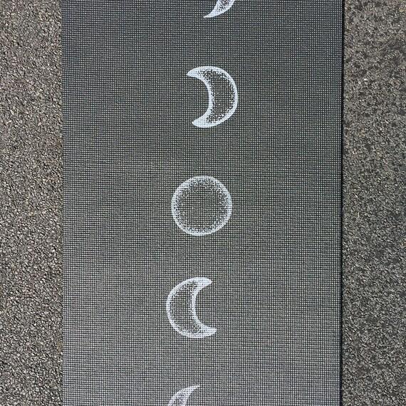 Moon Cycle Black Printed Yoga Mat Lunar Flow Luminous Night