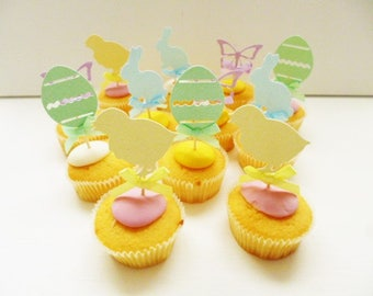 Spring Cupcake Toppers, Set of 12, Birthday Party, Easter, Bunny Rabbit, Butterfly, Egg, Chick, Pastel Colours, Glitter Toppers, Cake Tops