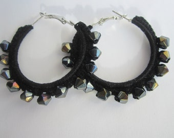Hoop black earrings, beads earrings, crochet earrings, crochet jewelry, knitted earrings, crocheted earrings, Valentines day gift