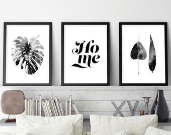 Set of 3 Prints, Black White Art, Scandinavian Art Set, Scandinavian Prints, Monstera, Scandinavian Modern, Print Set, Printable Wall Art