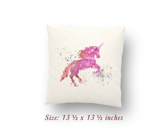 "Unicorn Fairy Tale Nursery Decor Watercolor Pillow Cover or Cushion Size: 13.5"" x 13.5"""
